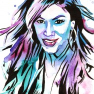 "Rosa Mendes - Ink and watercolor on 9"" x 12"" watercolor paper"