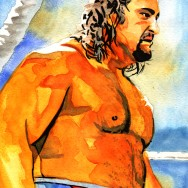 "Rusev - Ink and watercolor on 9"" x 12"" watercolor paper"