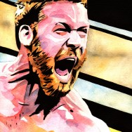 "Sami Zayn - Ink and watercolor on 9"" x 12"" watercolor paper"