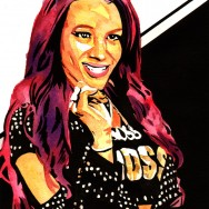 "Sasha Banks - Ink and watercolor on 9"" x 12"" watercolor paper"