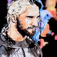 "Seth Rollins - Ink and watercolor on 18"" x 24"" watercolor paper"