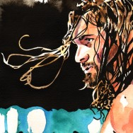 "Seth Rollins - Ink and watercolor on 9"" x 12"" watercolor paper"