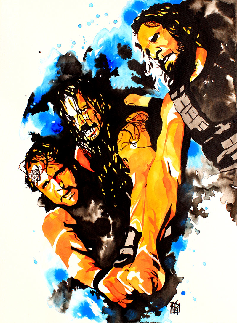 "The Shield: Dean Ambrose, Roman Reigns and Seth Rollins - Ink and liquid acrylic on 22"" x 30"" watercolor paper"