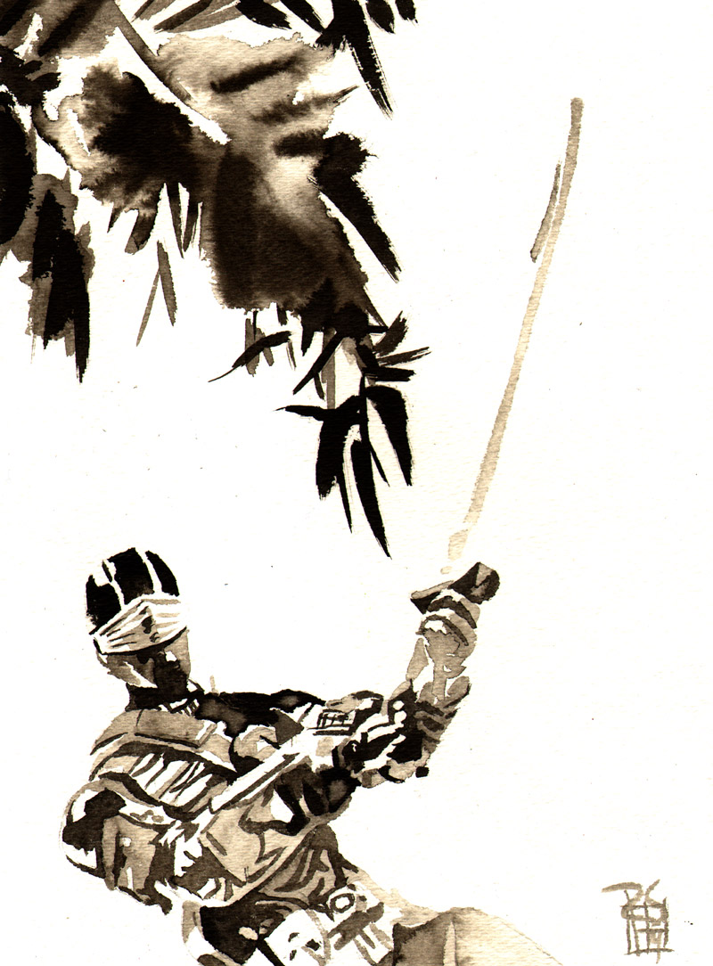 """Storm Shadow - Ink on 9"""" x 12"""" watercolor paper"""