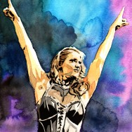 "Stephanie McMahon - Ink and watercolor on 9"" x 12"" watercolor paper"