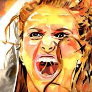 "Stephanie McMahon - Ink and watercolor on 18"" x 12"" watercolor paper"