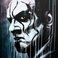 "Sting - Acrylic and spray on 22"" x 30"" canvas"