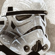 "Stormtrooper - Ink, acrylic and spray on 9"" x 12"" watercolor paper"