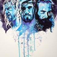 "TLC 2014: Dolph Ziggler, Seth Rollins and Luke Harper - Ink, dye and watercolor on 22"" x 30"" watercolor paper"