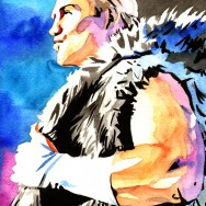 "Tyler Breeze - Ink and watercolor on 9"" x 12"" watercolor paper"