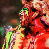 "The Ultimate Warrior - Acrylic and spray on 30"" x 40"" acrylic"