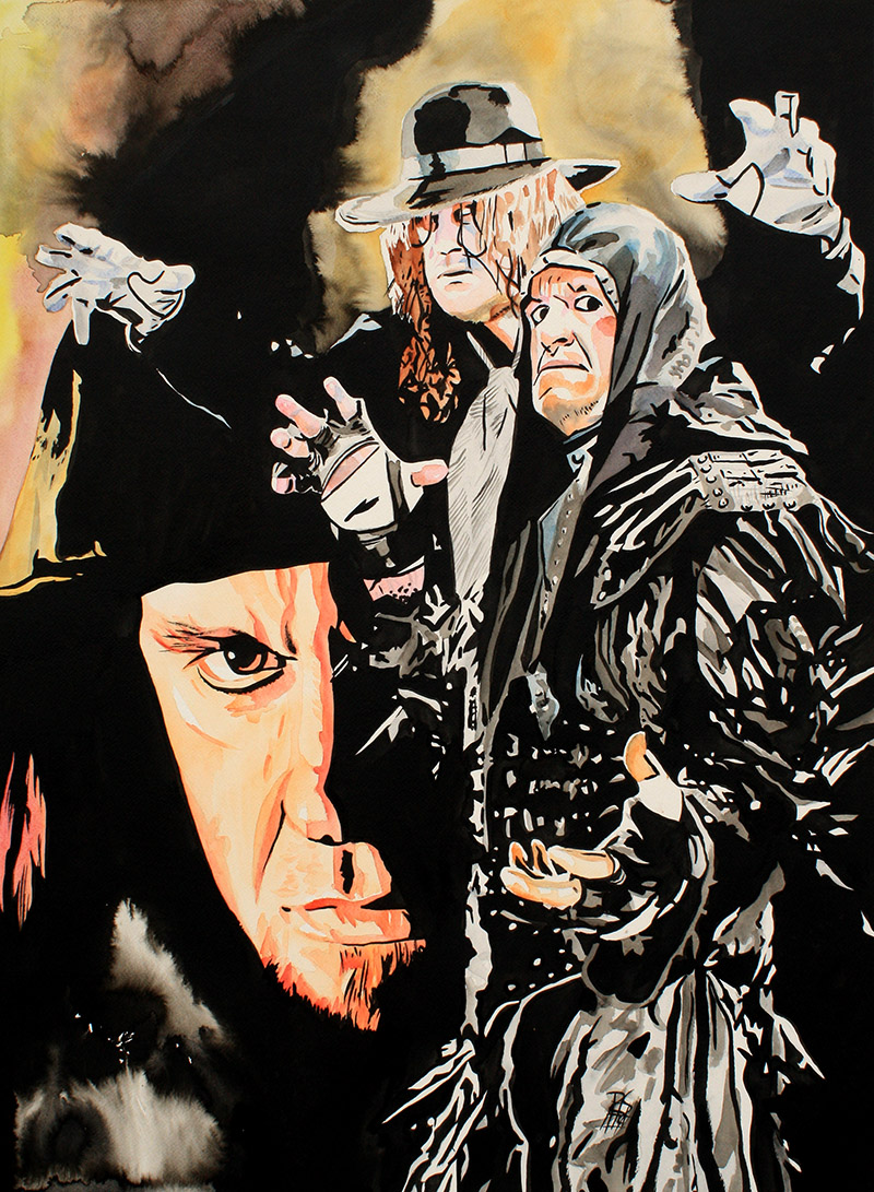 """Undertaker - Ink, and watercolor on 22"""" x 30"""" watercolor paper"""