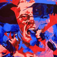 "Brock Lesnar and The Undertaker - Acrylic on 30"" x 40"" acrylic"