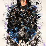 "The Undertaker and Sting - Ink, watercolor, and dye on 22"" x 30"" watercolor paper"