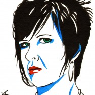 "Vickie Guerrero - Ink and liquid acrylic on 9"" x 12"" watercolor paper"