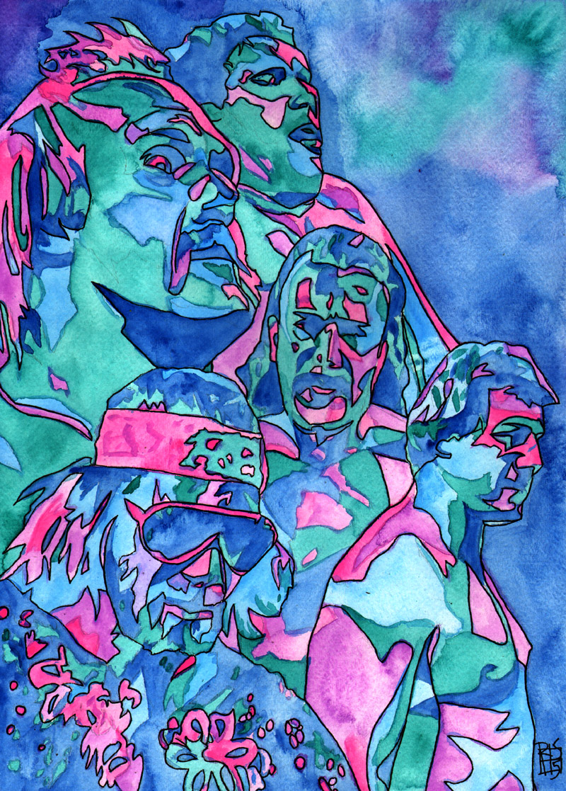 """WrestleMania 2 - Ink and watercolor on 11"""" x 15"""" watercolor paper"""