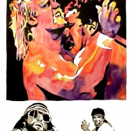 "WrestleMania 3 - Ink and watercolor on 22"" x 30"" watercolor paper"