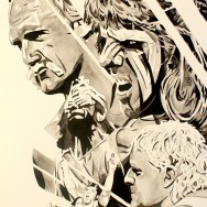"WrestleMania 6 - Ink and watercolor on 22"" x 30"" watercolor paper"