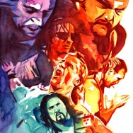 "WrestleMania 11 - Watercolor on 11"" x 15"" watercolor paper"