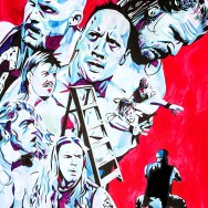 "WrestleMania 17 - Ink, watercolor and liquid acrylic on 22"" x 30"" watercolor paper"