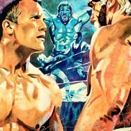 "WrestleMania 18 - Ink, watercolor, dye and acrylic on 22"" x 30"" watercolor paper"