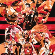 "WrestleMania 19 - Ink, dye and liquid acrylic on 22"" x 30"" watercolor paper"