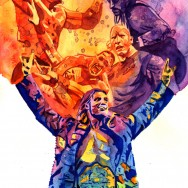 "WrestleMania 27 - Liquid acrylic and watercolor on 11"" x 15"" watercolor paper"
