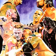 "WrestleMania 28 - Ink and watercolor on 11"" x 15"" watercolor paper"