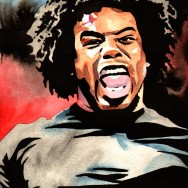 "Xavier Woods - Ink and watercolor on 9"" x 12"" watercolor paper"