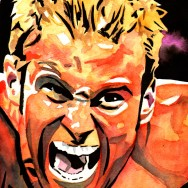 "Zack Ryder - Ink and watercolor on 9"" x 12"" watercolor paper"