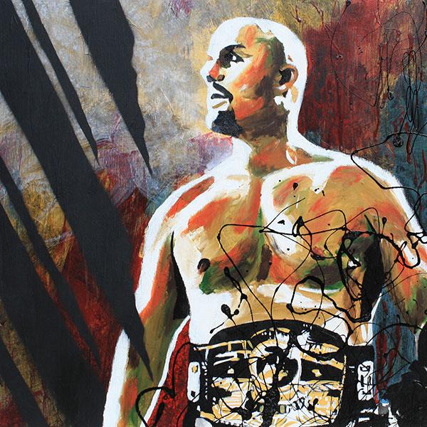 NWA Champion Adam Pearce painting