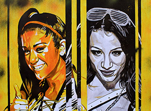 Purchase NXT TakeOver: Bayley vs Sasha Painting by Rob Schamberger