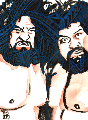 Purchase Wild Samoans Painting by Rob Schamberger