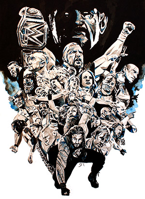 Purchase WrestleMania 32 Painting by Rob Schamberger