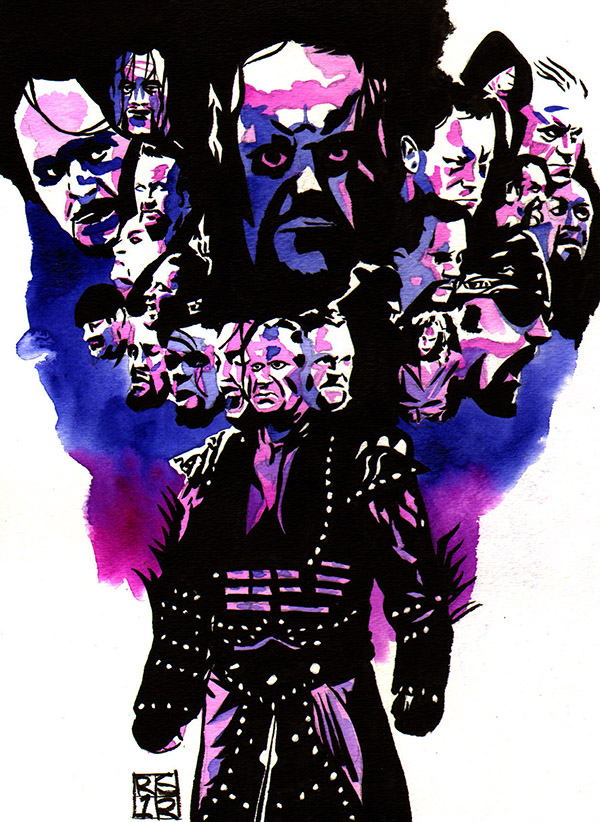 The Undertaker at Wrestlemania painting by Rob Schamberger