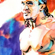 "Adrian Neville - Ink and watercolor on 9"" x 12"" watercolor paper"