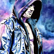 "AJ Styles - Ink and watercolor on 9"" x 12"" watercolor paper"