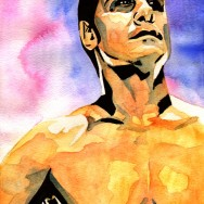 "Alberto Del Rio - Ink and watercolor on 9"" x 12"" watercolor paper"
