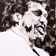 "Andre the Giant - Ink on 22"" x 30"" watercolor paper"
