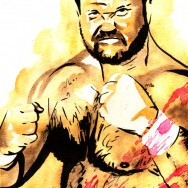 "Arn Anderson - Ink and watercolor on 9"" x 12"" watercolor paper"