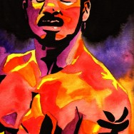 "Austin Aries - Ink and watercolor on 9"" x 12"" watercolor paper"