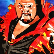 "Bam Bam Bigelow - Ink and watercolor on 9"" x 12"" watercolor paper"