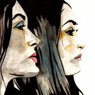 "Bella Twins - Ink and watercolor on 9"" x 12"" watercolor paper"