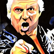 "Bobby Heenan - Ink and watercolor on 9"" x 12"" watercolor paper"
