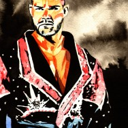 "Bobby Roode - Ink and watercolor on 9"" x 12"" watercolor paper"