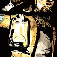 "Bray Wyatt - Ink and watercolor on 9"" x 12"" watercolor paper"