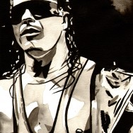"Bret Hart - Ink and watercolor on 9"" x 12"" watercolor paper"