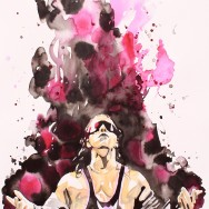 "Bret Hart - Ink, liquid acrylic and watercolor on 22"" x 30"" watercolor paper"