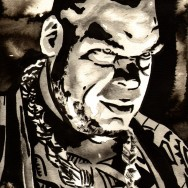 "Brodus Clay - Ink and watercolor on 9"" x 12"" watercolor paper"