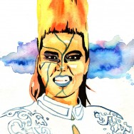 "Bull Nakano - Ink and watercolor on 9"" x 12"" watercolor paper"